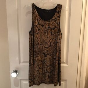 MINKPINK Black and Gold Brocade Print Dress Sz M